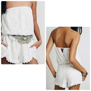 Free People Tahlia Lace Strapless Ivory Romper